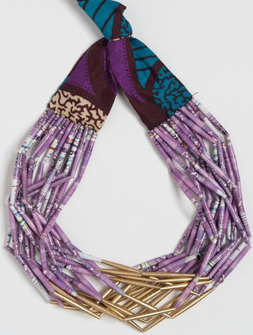 Fabric Necklace Open Gold & Purple