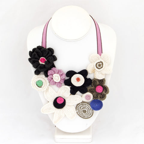 Bib Necklace Cream Pink And Grey