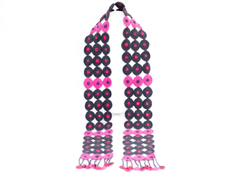 Long Disk Scarf Charcoal And Hot Pink