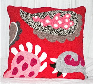 Red Paisley Hooked Pillow