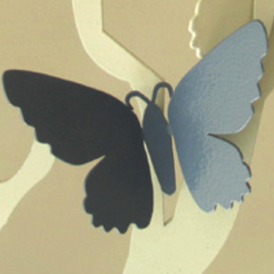 Silver-Shortwing Butterfly Fridge Magnet