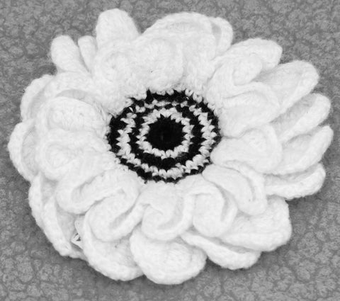 White With Black Centre Flower Brooch