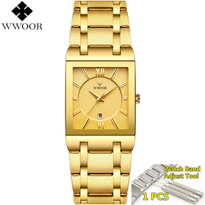 Men's Luxury Gold Black Square Waterproof Quartz Watch