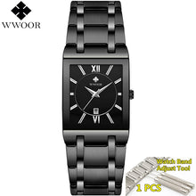 Load image into Gallery viewer, Men's Luxury Gold Black Square Waterproof Quartz Watch