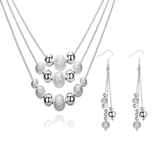Load image into Gallery viewer, Women's 925 Silver Plated, Three Line Multi Beads Necklace and Earring Set