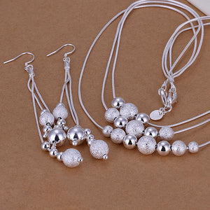 Women's 925 Silver Plated, Three Line Multi Beads Necklace and Earring Set