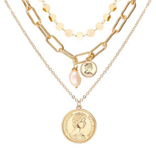 Load image into Gallery viewer, Women's Gold Colored Multi-Layer Pendant Necklaces