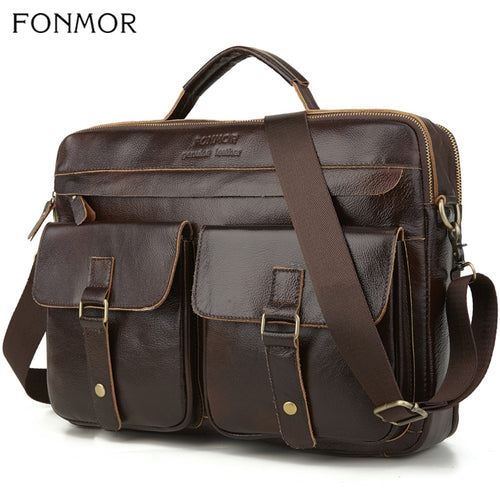 Men's 100% Leather Laptop Tote Briefcase