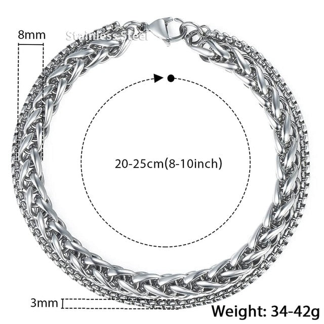 Men's Double Chain Stainless Steel Bracelet