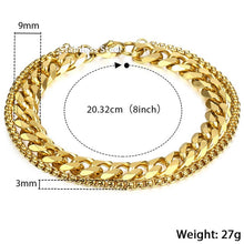 Load image into Gallery viewer, Men's Double Chain Stainless Steel Bracelet