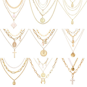Women's Gold Colored Multi-Layer Pendant Necklaces