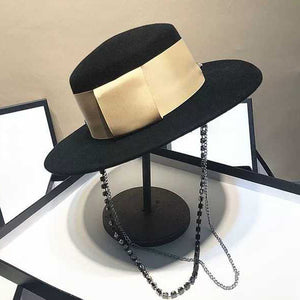 Women's Black Wide-Rim Fedora Hat With Gold Ribbon