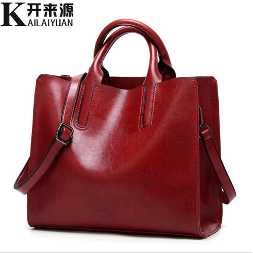 Women's Leather Briefcase Shoulder Messenger Handbag
