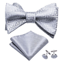Load image into Gallery viewer, Men's 3 Piece 100% Silk Bow Tie Set (Bow Tie, Cuff Links, and Handkerchief)