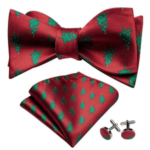 Men's 3 Piece 100% Silk Bow Tie Set (Bow Tie, Cuff Links, and Handkerchief)