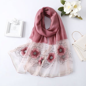 Women's Flower Embroidered Silk Scarf