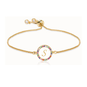 Women's Adjustable Rainbow Zircon 26 Letter Bracelet