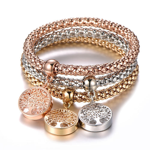 Women's 3 Piece Popcorn Chain Bracelet Set