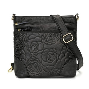 Women's Leather Flower Decorated Cross Body Messenger Bag
