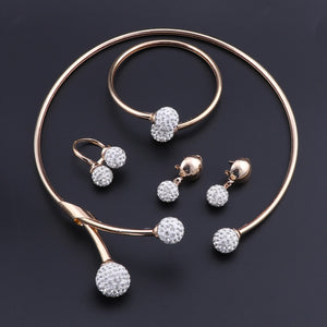 Women's Classic Gold and CZ Jewelry Set- Necklace, Earrings, Ring, and Bracelet