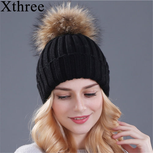 Women's Mink and Fur Ball Beanie Winter Hat