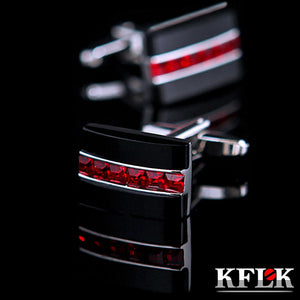Men's Red Crystal Fashion Cuff Links