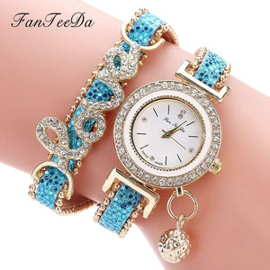Women's Rhinestone Quartz Bracelet Watch