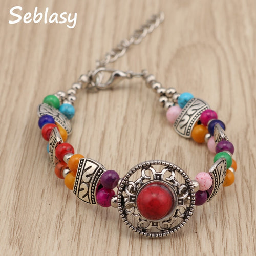 Women's Tibetan Silver Natural Stone Beads Sunflower Charm Bracelet