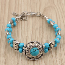 Load image into Gallery viewer, Women's Tibetan Silver Natural Stone Beads Sunflower Charm Bracelet