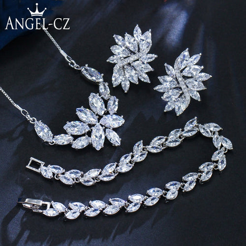Women's Formal Cluster Leaf Design Evening Jewelry Set (Necklace, Earrings, and Bracelet)