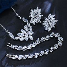 Load image into Gallery viewer, Women's Formal Cluster Leaf Design Evening Jewelry Set (Necklace, Earrings, and Bracelet)