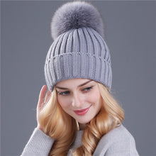 Load image into Gallery viewer, Women's Mink and Fur Ball Beanie Winter Hat