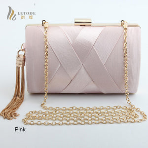Women's Satin Evening Bag With Gold Tassel
