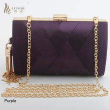 Load image into Gallery viewer, Women's Satin Evening Bag With Gold Tassel