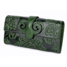 Load image into Gallery viewer, Women's Long Leather Embossed Floral Wallet