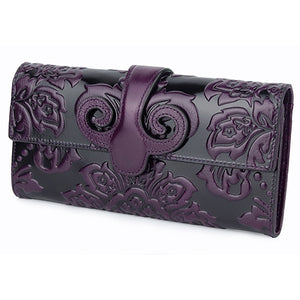 Women's Long Leather Embossed Floral Wallet