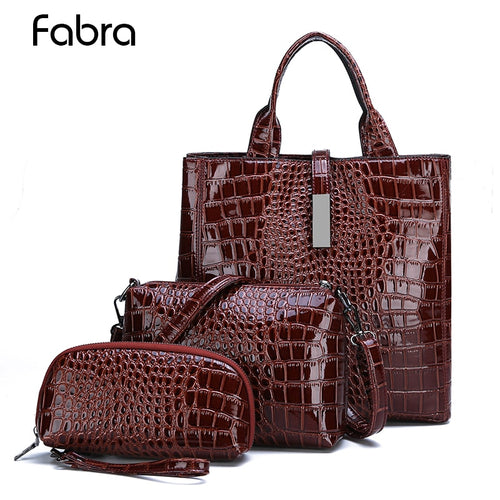 Women's 3 Piece Patent Leather Alligator Bags (Tote, Shoulder Messenger Crossbody, and Clutch)