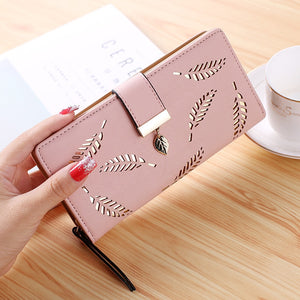 Women's Long Gold Hollow Leaf Design Wallet