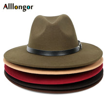 Load image into Gallery viewer, Men's Wool Wide Brim Fedora Hat
