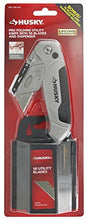 Husky 99509 Metal 3-Position Flip Folding Utility Knife with 50 Blades and Plastic Blade Dispenser and Disposal Case
