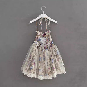Wine Floral & Lace Bib Halter Dress