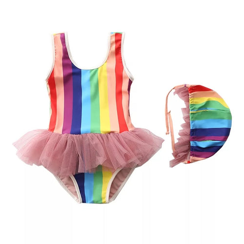 One Piece Rainbow Swimsuit with matching cap