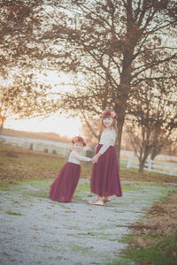 Burgundy Tulle Dress