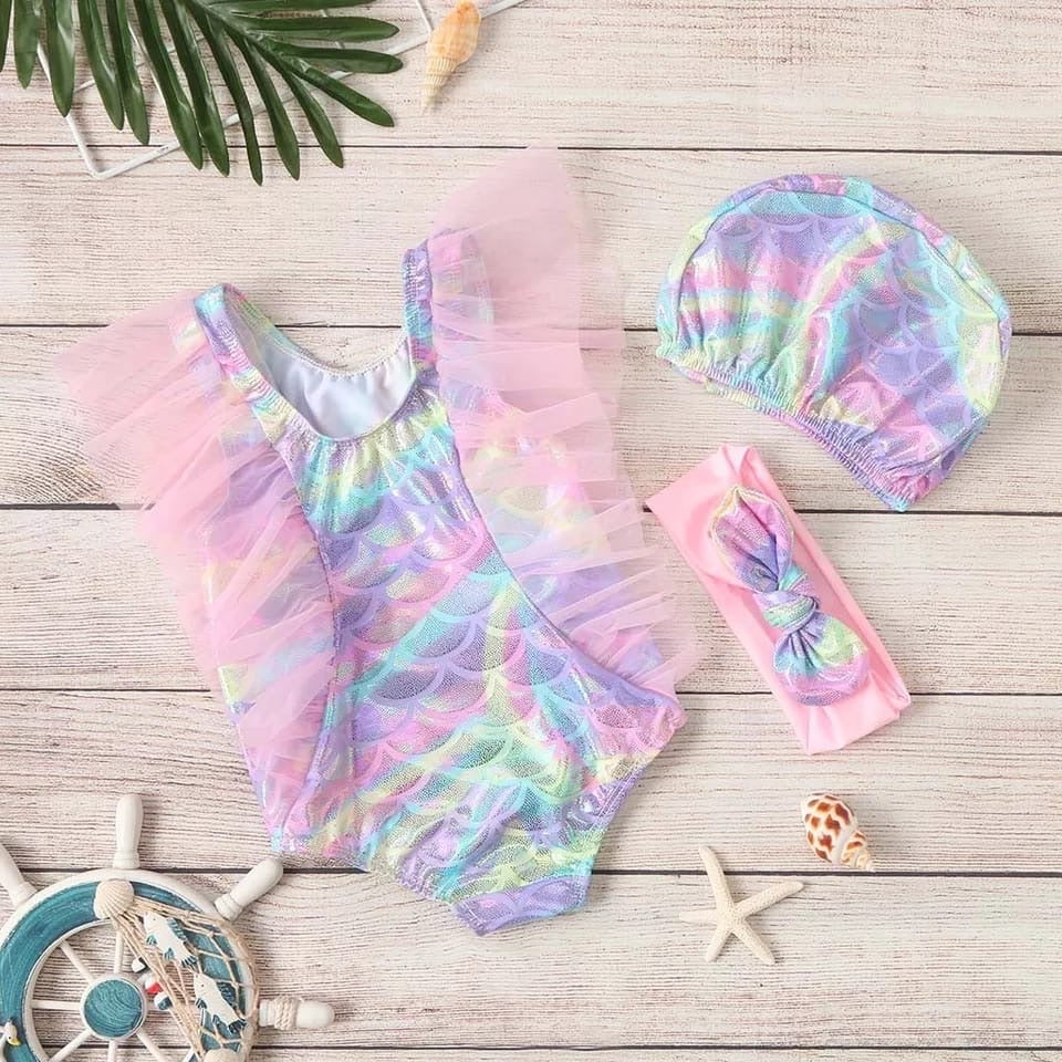 Mermaid 3 piece swimsuit set