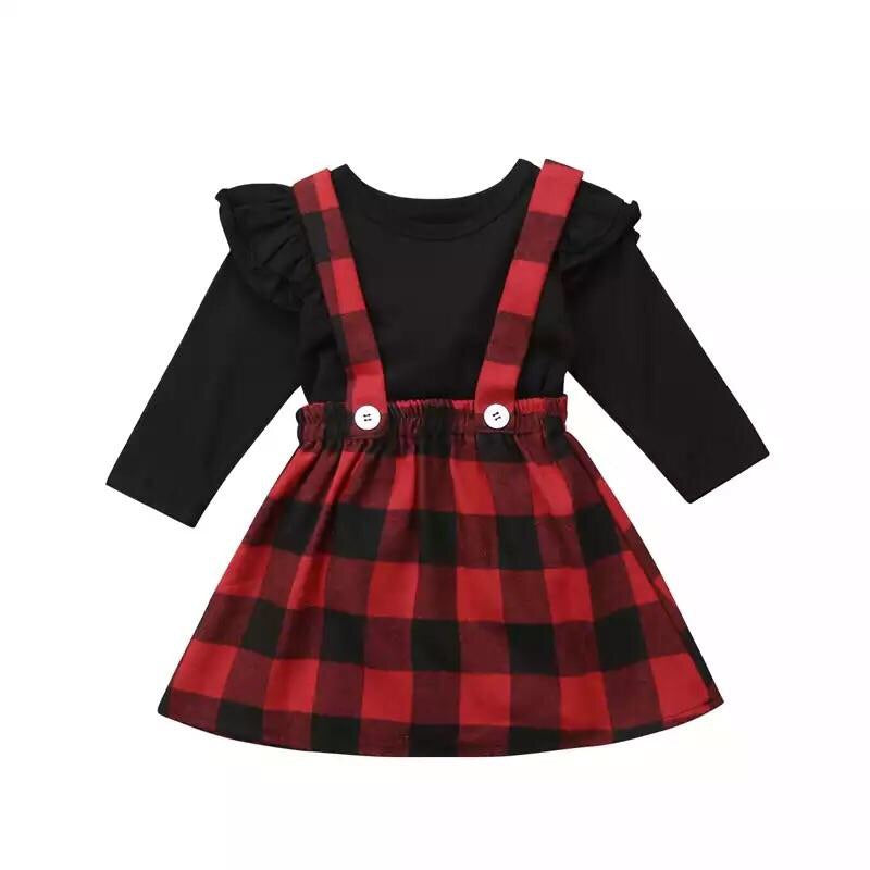Plaid suspender skirt with black top