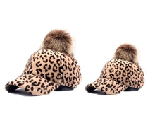 Mommy and me Cheetah pom Pom Caps