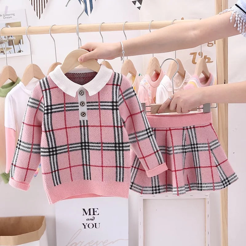 Plaid Knitted 2 Piece Set