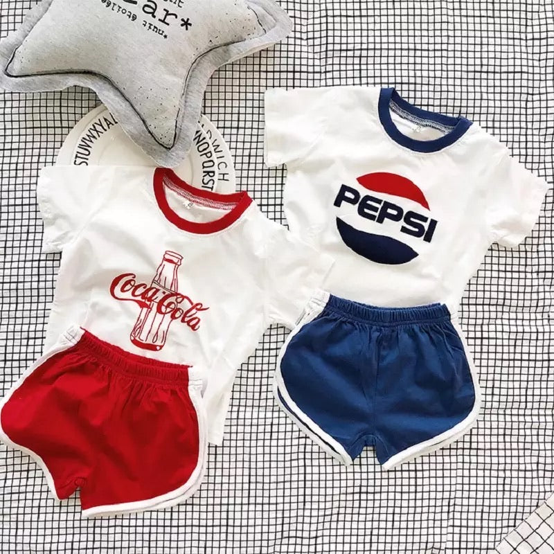 Retro style Pepsi and coke Shirts and shorts set