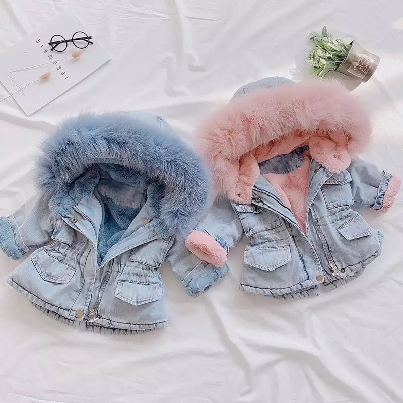 Denim Hooded Coat