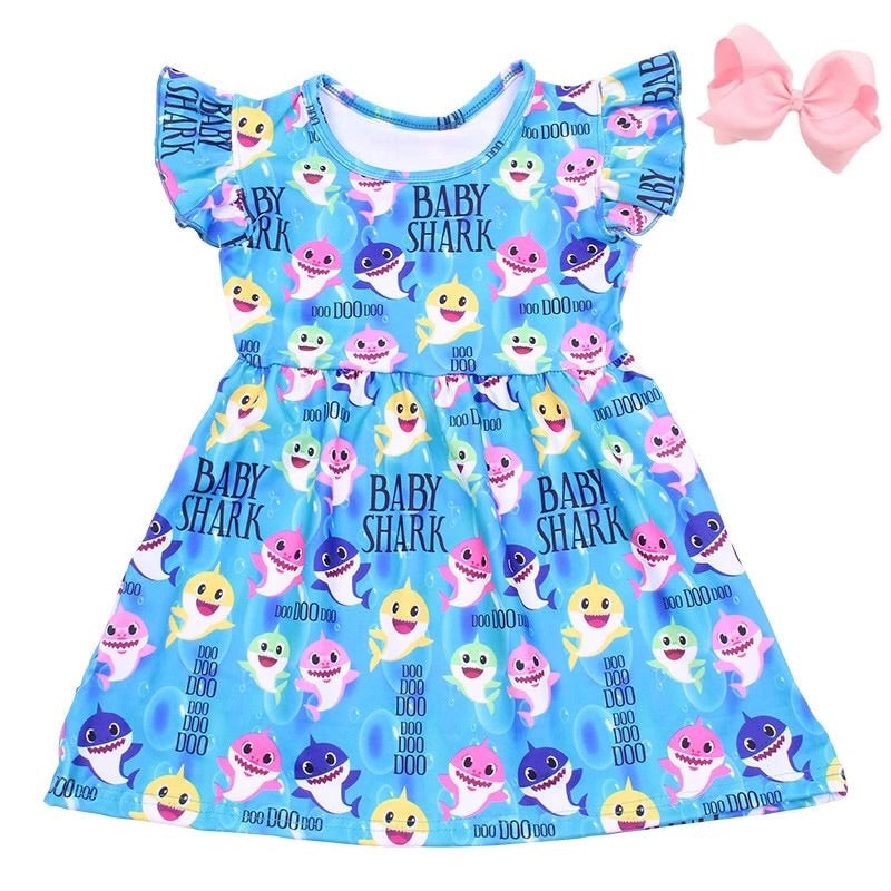 Baby Shark Dress with Pink Bow